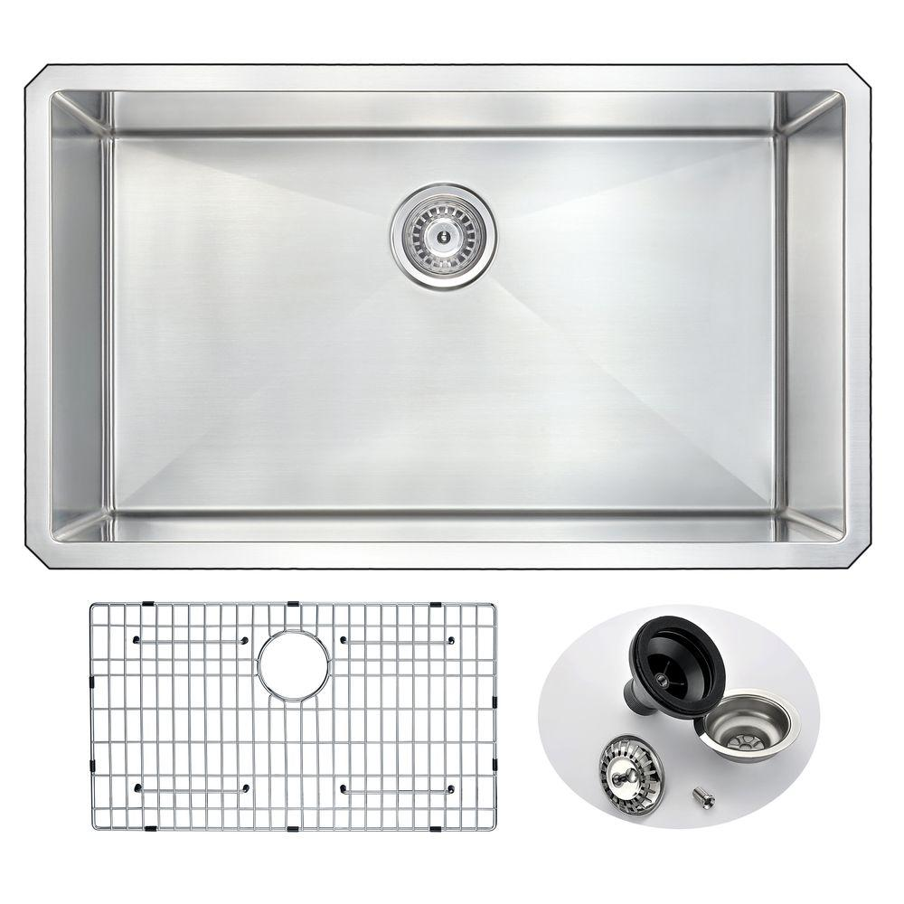 ANZZI VANGUARD Series Undermount Stainless Steel 32 In. 0 Hole Single Bowl Kitchen  Sink