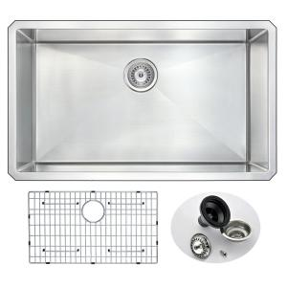 ANZZI VANGUARD Series Undermount Stainless Steel 32 inch 0-Hole Single Bowl Kitchen Sink by ANZZI