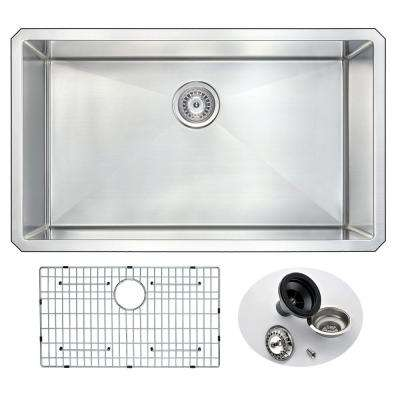 VANGUARD Series Undermount Stainless Steel 32 in. 0-Hole Single Bowl Kitchen Sink
