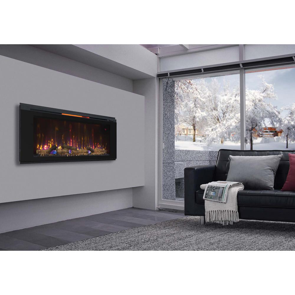 p soho mounted electric fireplace pebbles inch black wall curved