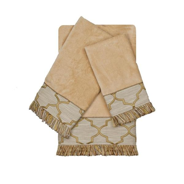 Austin Horn Collection Ascot Gold Decorative Embellished Towel Set (3-Piece)