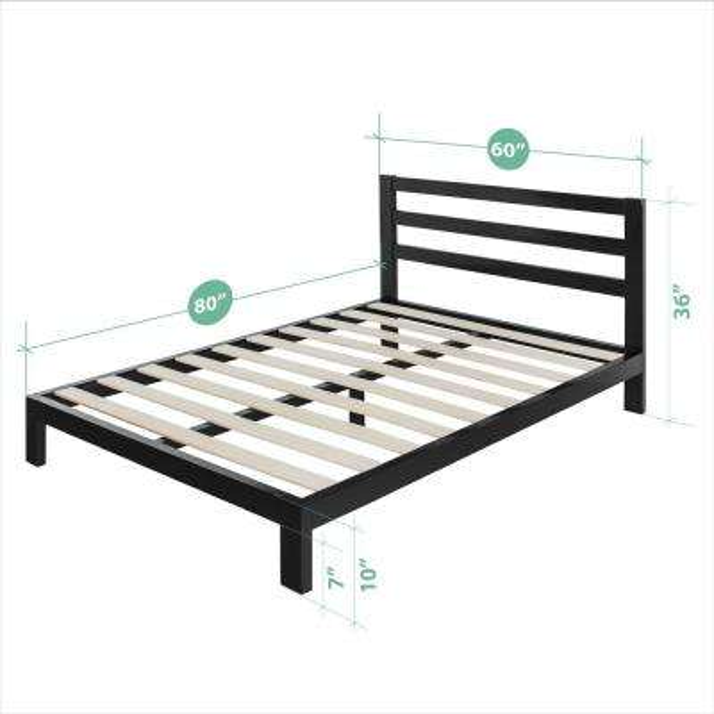 Arnav Modern Studio 10 Inch Platform 2000H Metal Bed Frame, Queen