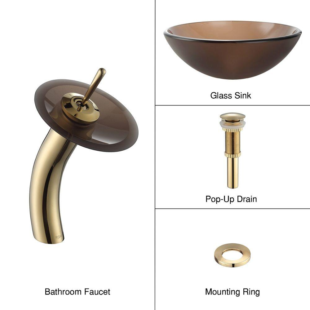 KRAUS Frosted Glass Vessel Sink in Brown with Single Hole Single-Handle Low-Arc Waterfall Faucet in Gold