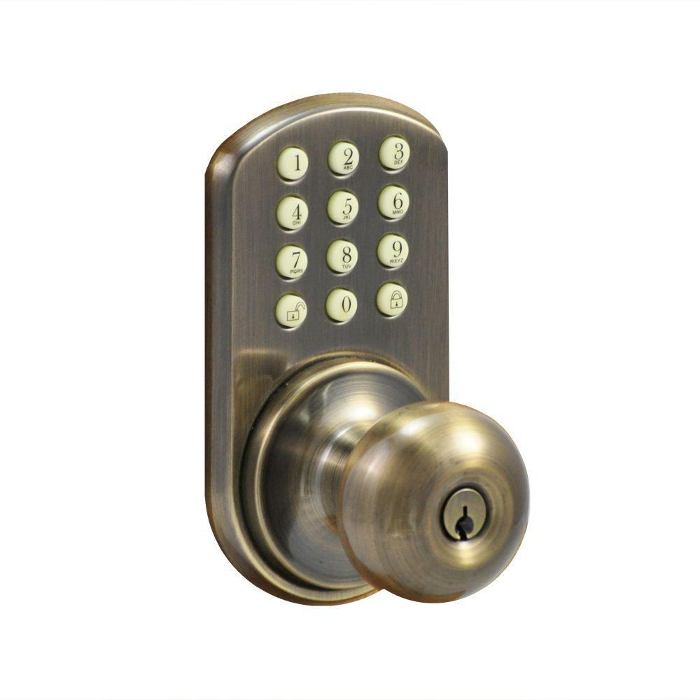 Morning Industry Antique Brass Touch Pad Electronic Entry Knob