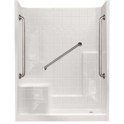 32 in. x 60 in. x 77 in. Standard Plus 36 Low Threshold 3-Piece Shower Kit in White with Left Seat and Right Drain