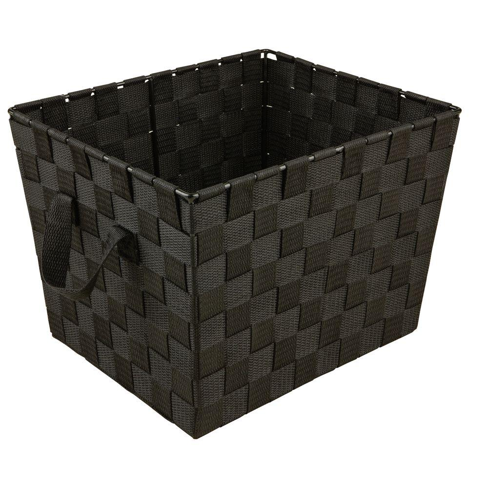 Simplify 8 in. x 12 in. 730 g Small Woven Strap Storage Tote Bin with Handles in Black