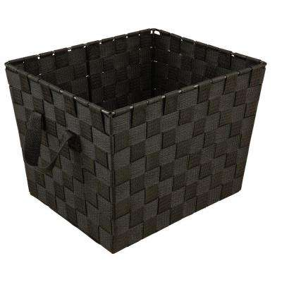8 in. x 12 in. 730 g Small Woven Strap Storage Tote Bin with Handles in Black