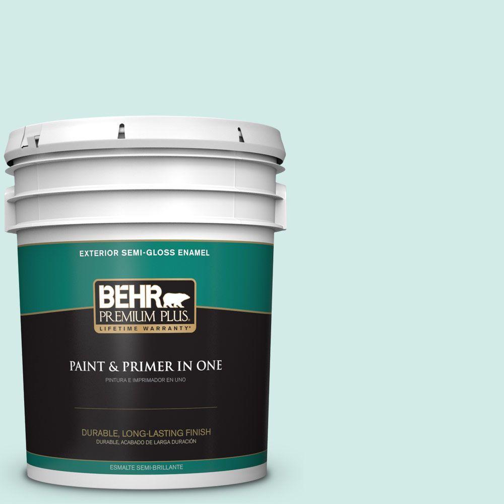 BEHR Premium Plus 5-gal. #490C-2 Adriatic Mist Semi-Gloss Enamel Exterior Paint