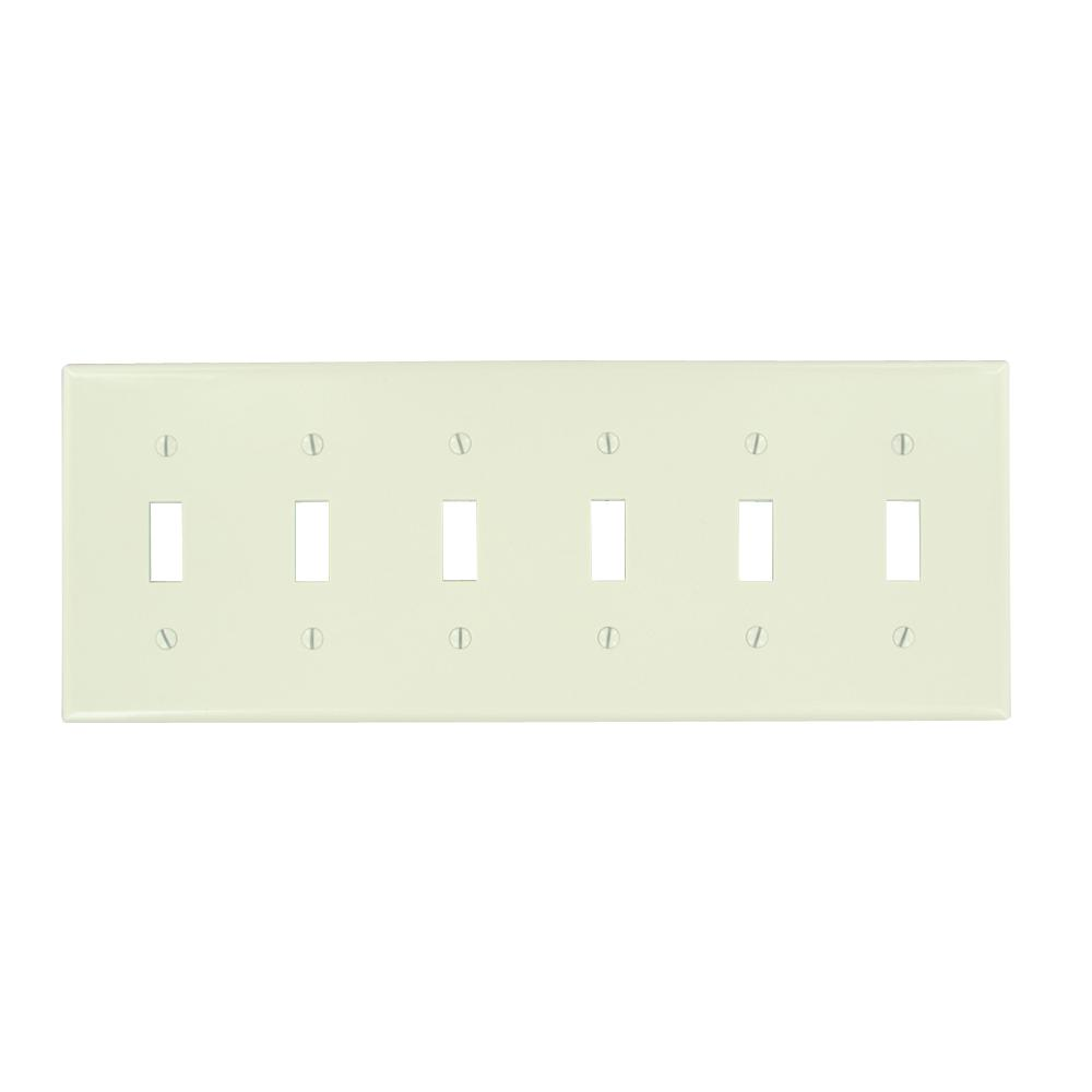 Leviton 6-Gang 6-Toggle Standard Size Plastic Wall Plate,...