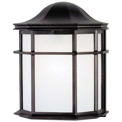 1-Light Textured Black on Cast Aluminum Exterior Wall Lantern with White Acrylic Lens