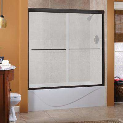 Cove 60 in. x 60 in. Semi-Framed Sliding Tub Door in Oil Rubbed Bronze with 1/4 in. Rain Glass