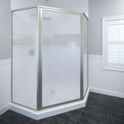 Deluxe 26-1/2 in. x 68-5/8 in. Framed Neo-Angle Shower Door in Brushed Nickel
