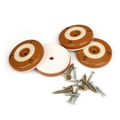 2 in. Round Caramel Brown Furniture Feet Floor Protectors with Non Slip Rubber Grip (Set of 4 )