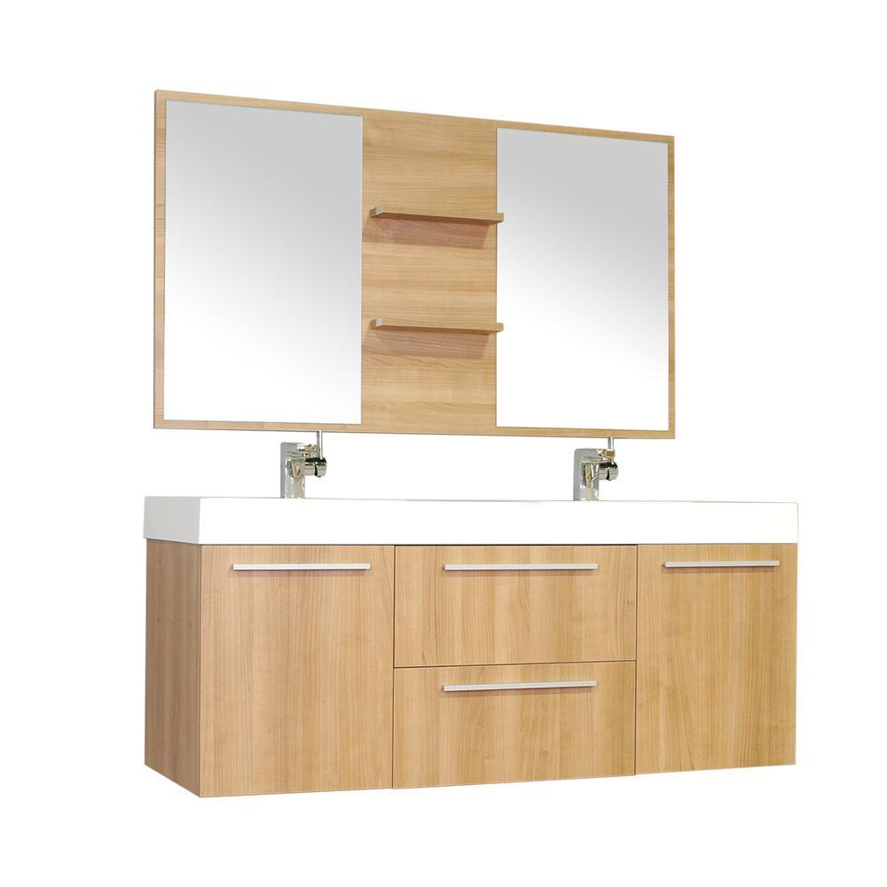 The Modern 54.25 in. W x 18.75 in. D Bath Vanity in Light Oak w/ Acrylic Vanity Top in White w/ White Basin and Mirror