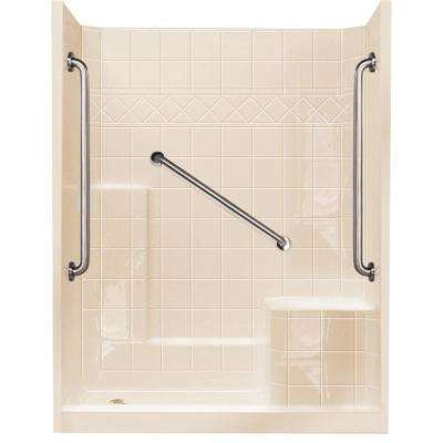 32 in. x 60 in. x 77 in. Standard Plus 36 Low Threshold 3-Piece Shower Kit in Bone with Right Seat and Left Drain