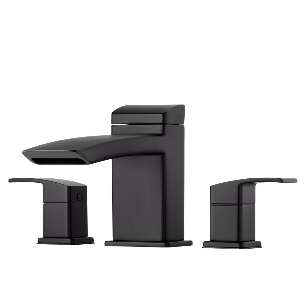 Kenzo 2-Handle Deck Mount Roman Tub Faucet Trim Kit in Matte Black (Valve Not Included)