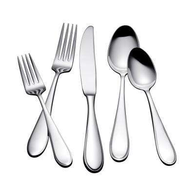 Lysa 20-Piece Satin Silver Stainless Steel Flatware Set Service for 4
