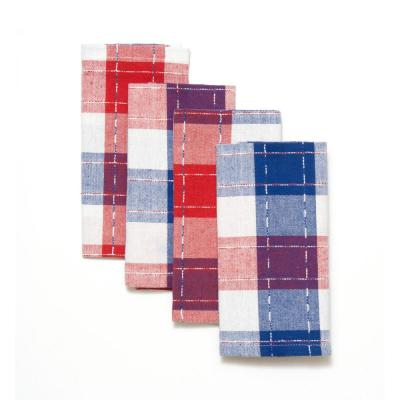 Americana Plaid 18 in. x 18 in. Red 100% Cotton Napkins  (4-Pack)