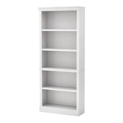 72 in. White Wood 5-shelf Standard Bookcase with Adjustable Shelves