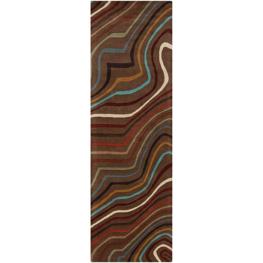 Kallang Chocolate 3 ft. x 12 ft. Runner Rug