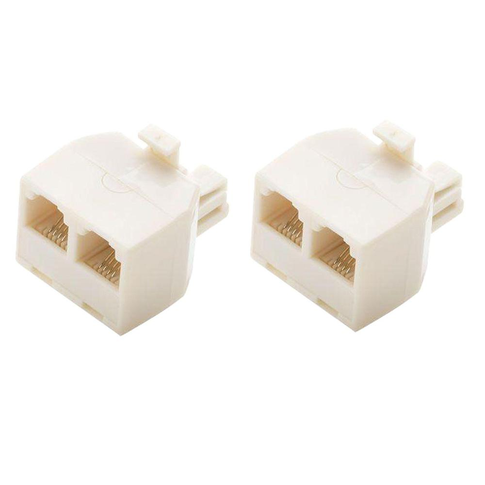 2-Way Telephone Splitter, Light Almond (2-Pack)