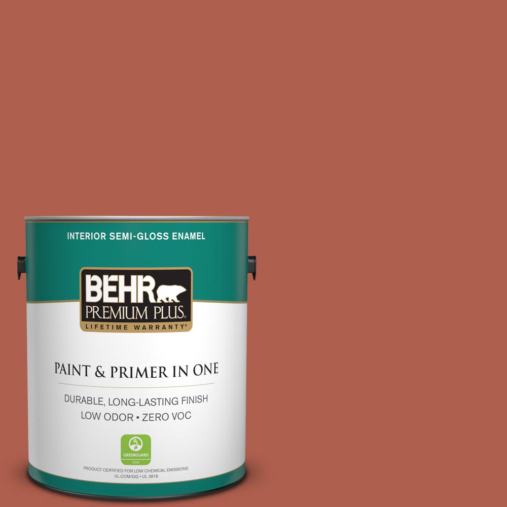 1-gal. #BIC-46 Clay Red Semi-Gloss Enamel Interior Paint