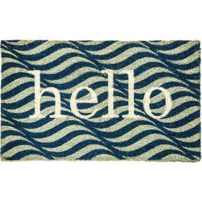 Aspen Hello Blue/Ivory 18 in. x 30 in. Door Mat