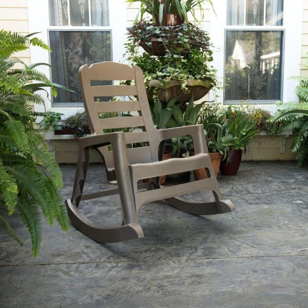 Unbranded Big Easy Plastic Outdoor Rocking Chair Mushroom 8080 96 4300 The Home Depot