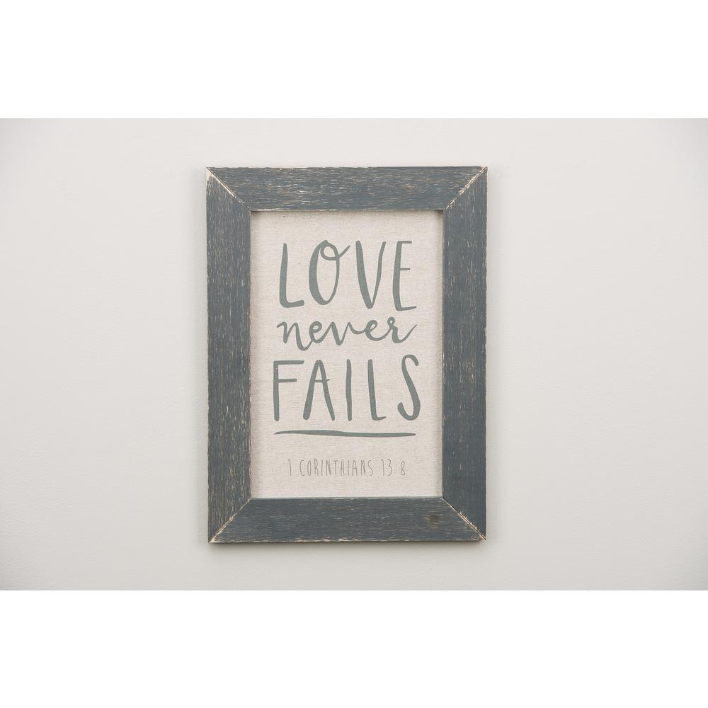 Love Never Fails Framed Fabric Board-3190003 - The Home Depot
