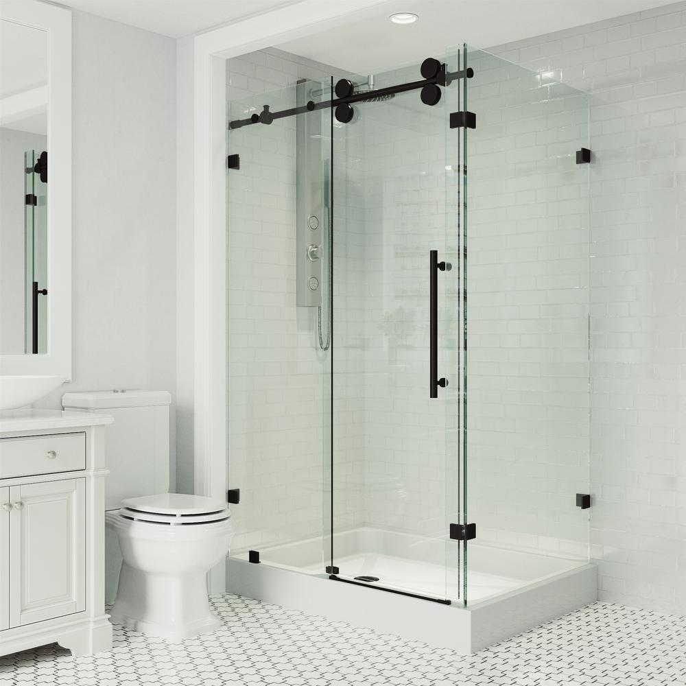 36 in. x 79 in. Frameless Corner Sliding Shower Door in Matte Black with Left Opening and Base