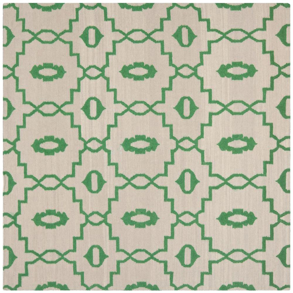 Dhurries Ivory/Green 6 ft. x 6 ft. Square Area Rug