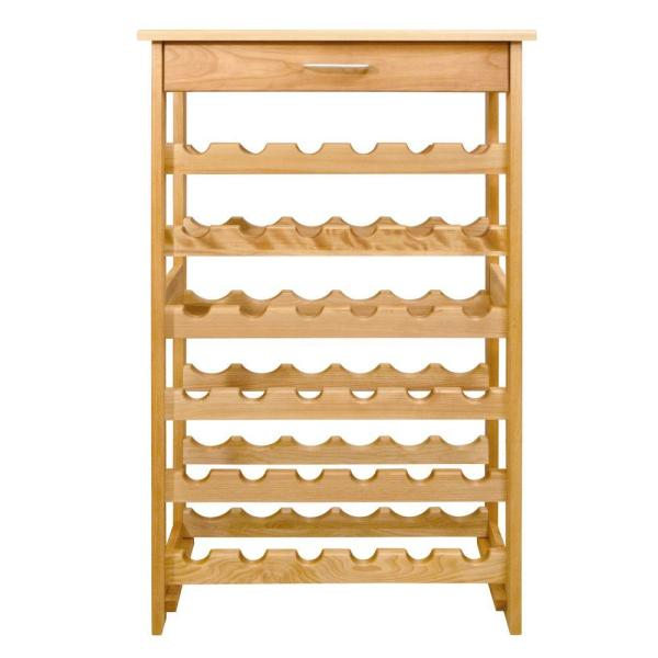 36-Bottle Natural wood Floor Wine Rack
