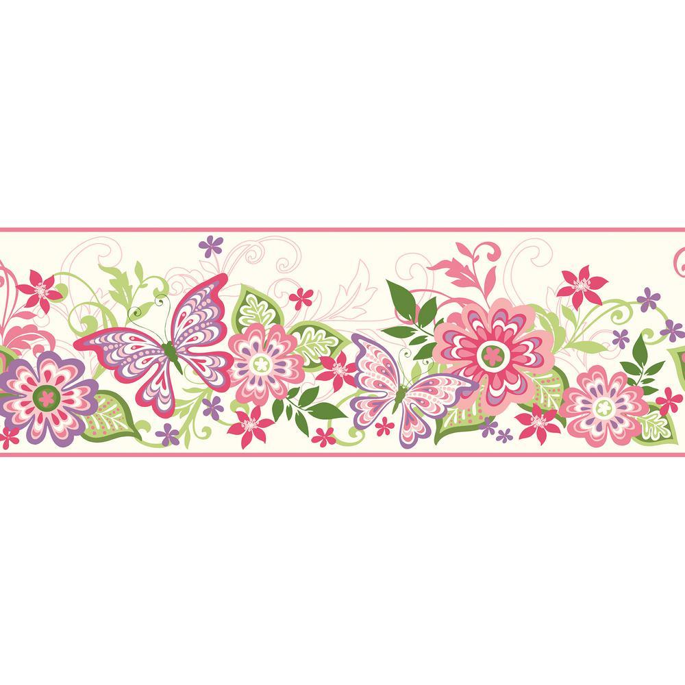 Kendra Pink Butterflies Blooms Trail Wallpaper Border Sample