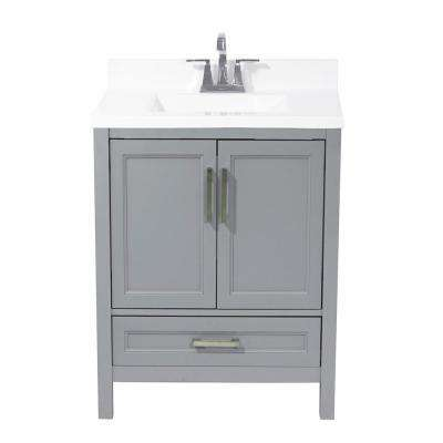 Salerno 25 in. Bath Vanity in Grey with Cultured Marble Vanity Top with Backsplash in White with White Basin