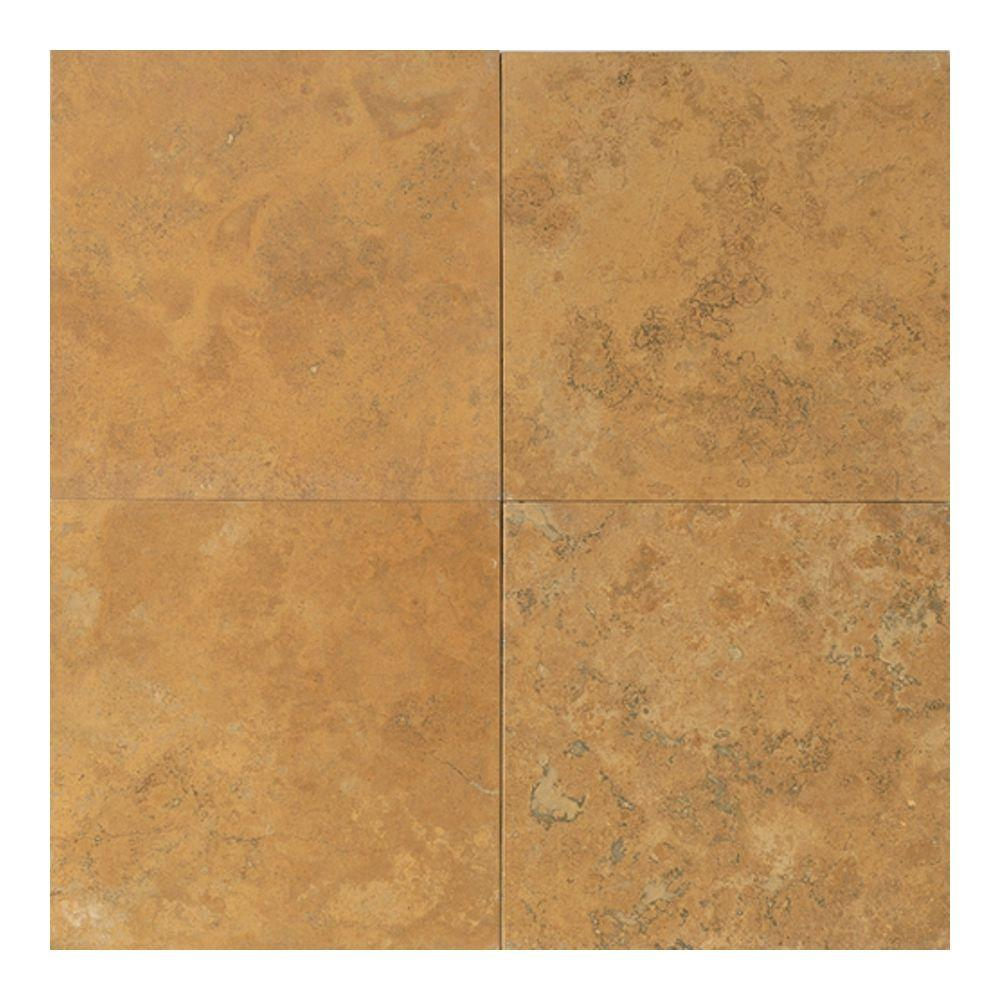 Daltile Travertine Sienna Gold 18 in. x 18 in. Natural Stone Floor and Wall Tile (9 sq. ft. / case)-DISCONTINUED