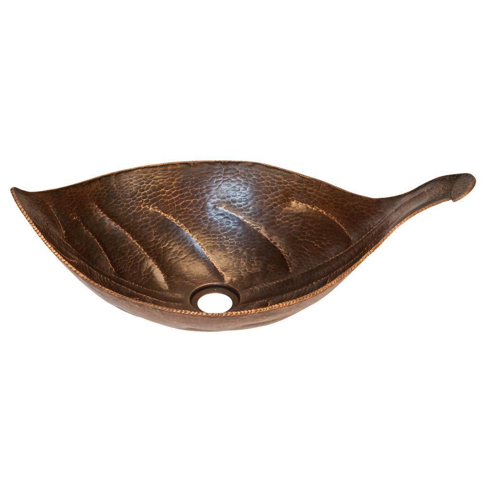 Leaf Hammered Copper Vessel Sink in Oil Rubbed Bronze