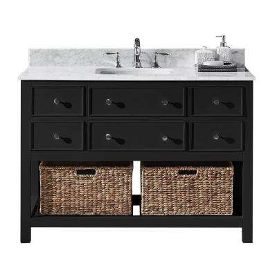 Elodie 48 in. W x 22 in. D x 34.21 in. H Bath Vanity in Espresso with Marble Vanity Top in White with White Basin