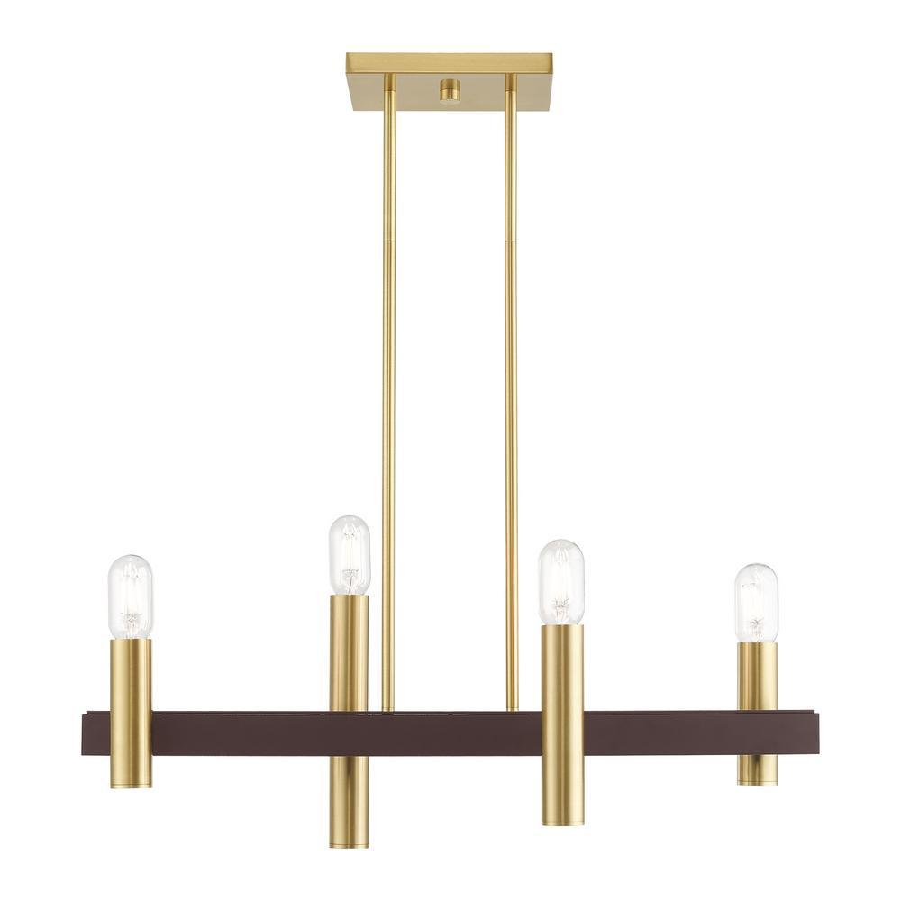 Helsinki 4-Light Satin Brass Linear Chandelier