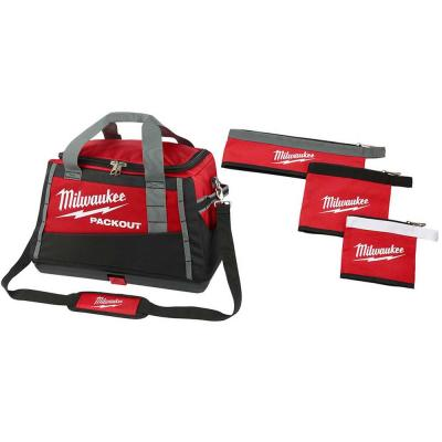 20 in. PACKOUT Tool Bag W/ Multi-Size Zipper Tool Bags in Red (3-Pack)