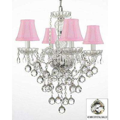 Empress 4-Light Clear Crystal Chandelier Trimmed with Swarovski Crystal with Shades