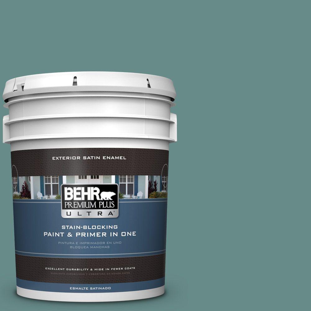 BEHR Premium Plus Ultra 5-gal. #ECC-60-3 Pool Tide Satin Enamel Exterior Paint
