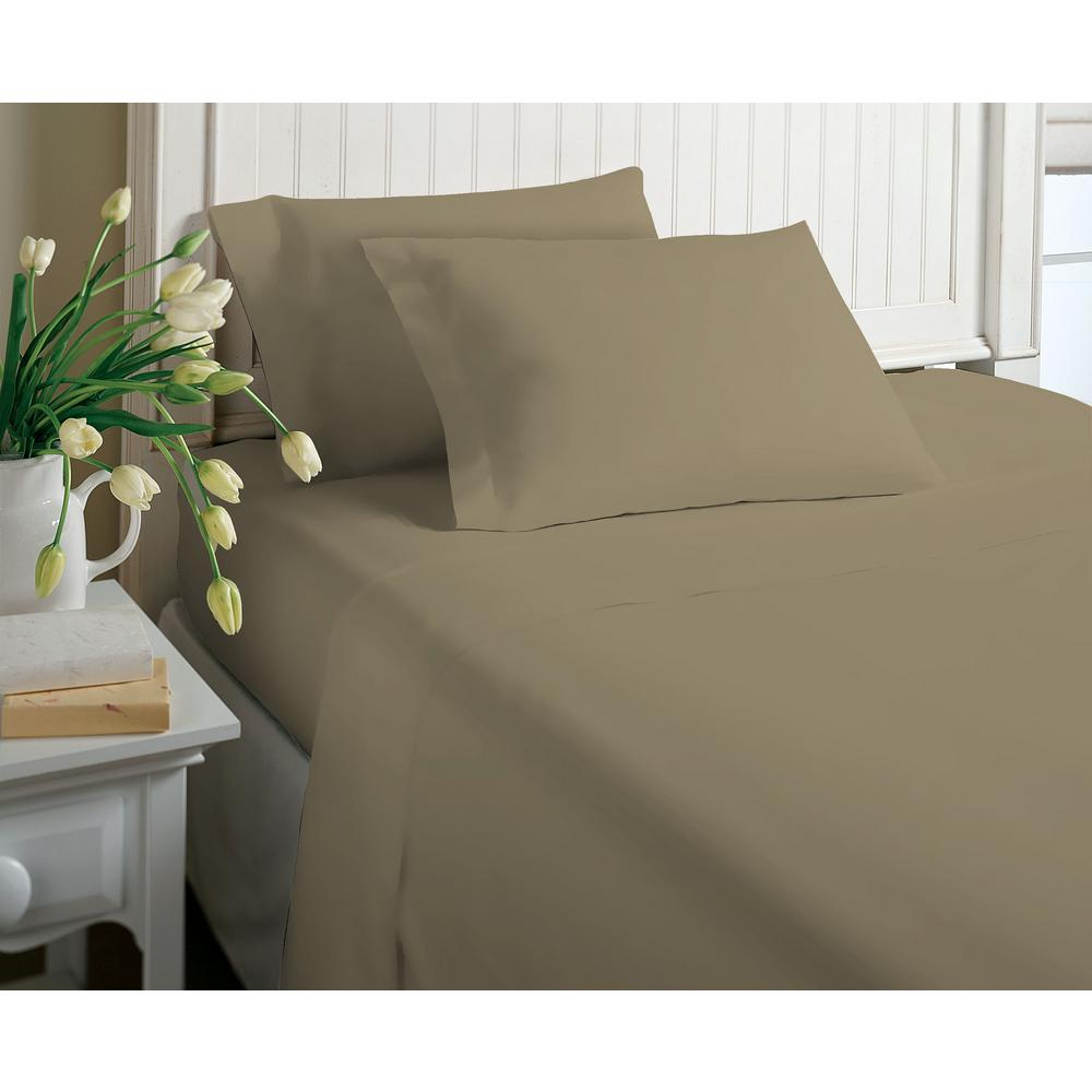 4-Piece Tan Solid Cotton Rich Full Sheet Set