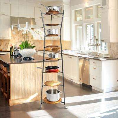 Handcrafted 8-Tier Gourmet Hourglass Cookware Stand with Alder Shelves Hammered Steel