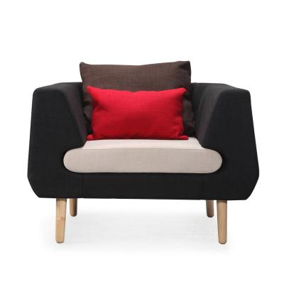 Black Artu Accent Arm Chair with White Cushion and Brown and Red Accent Pillows