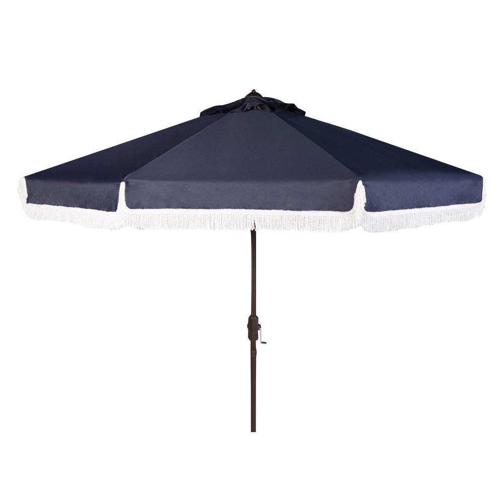 Safavieh Milan 9 ft. Aluminum Market Tilt Patio Umbrella in Navy/White
