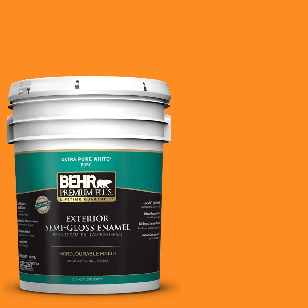 BEHR Premium Plus 5-gal. #S-G-280 Mango Madness Semi-Gloss Enamel Exterior Paint