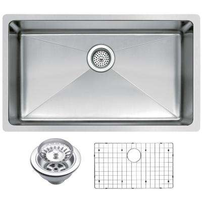 Undermount Stainless Steel 30 in. Single Basin Kitchen Sink with Strainer and Grid in Satin