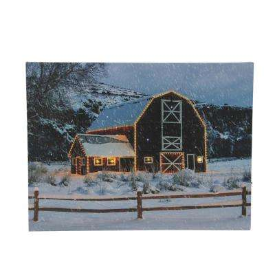 15.75 in. LED Fiber Optic Snowy Red Barn Christmas Canvas Wall Art