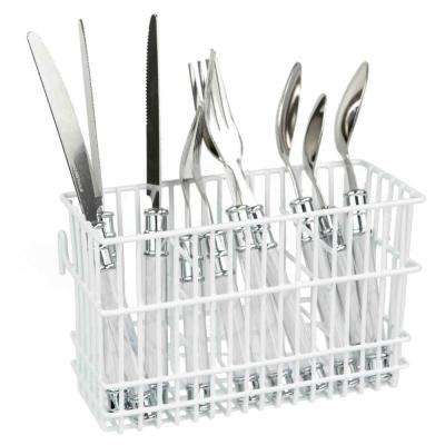 4 in. x 6 in. x 5 in. Cutlery Holder in White
