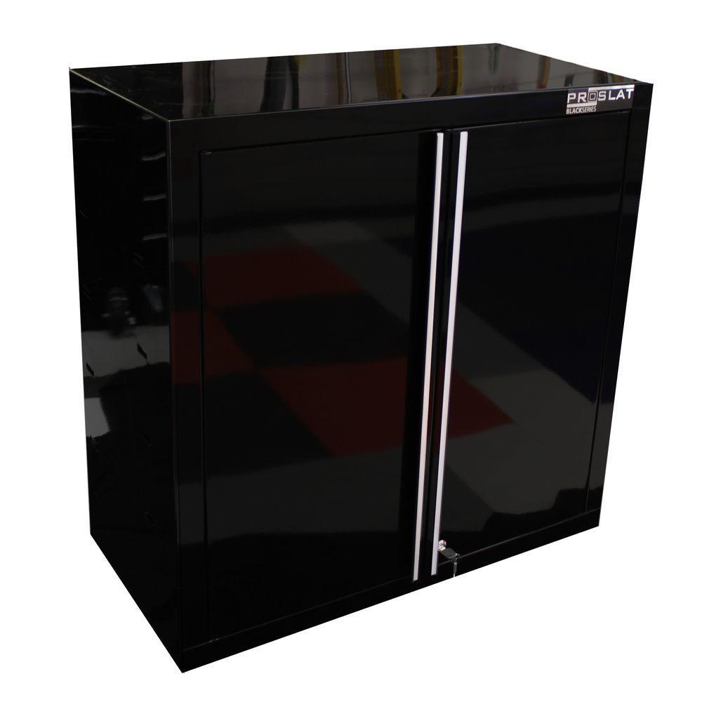 Proslat 30 in. H x 30 in. W x 15 in. D Steel Wall/Slat Wall Mount Garage Cabinet in Black